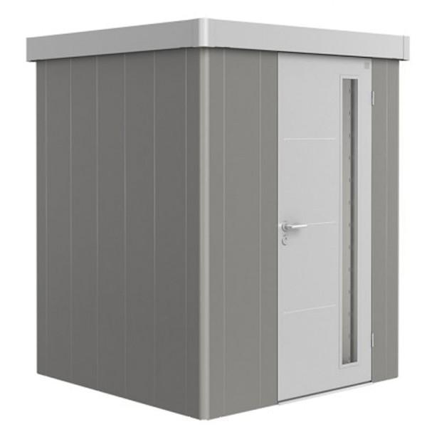 BIOHORT Gerätehaus Neo 1A 180x180 mit Einzeltür quarzgrau-metallic (Wand) silber-metallic (Dach- und