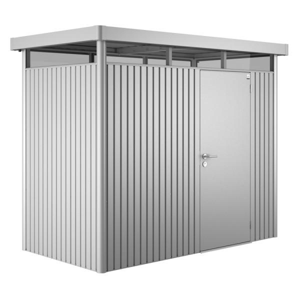 BIOHORT Gerätehaus HighLine H1 275x155 mit Einzeltüre silber-metallic - 9003414830202 | by gartenmoebel-fockenberg.de