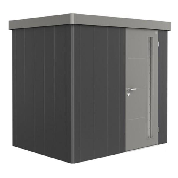 BIOHORT Gerätehaus Neo 1B 236x180 mit Einzeltür dunkelgrau-metallic (Wand) quarzgrau-metallic (Dach-