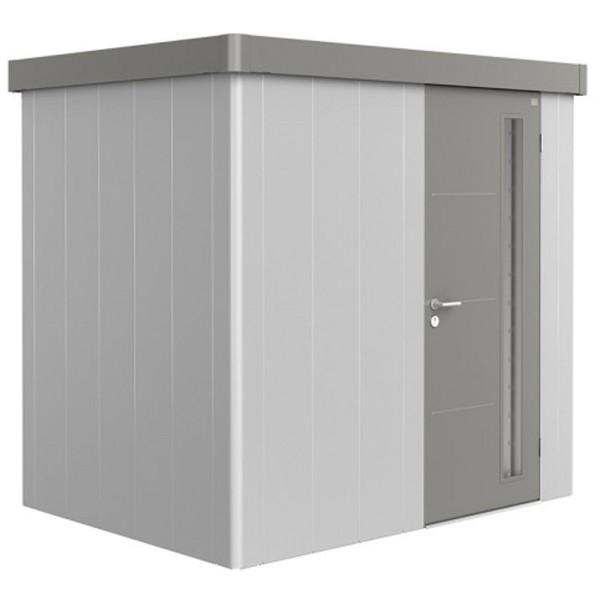 BIOHORT Gerätehaus Neo 1B 236x180 mit Einzeltür silber-metallic (Wand) quarzgrau-metallic (Dach- und