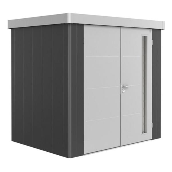 BIOHORT Gerätehaus Neo 1B 236x180 mit Doppeltür dunkelgrau-metallic (Wand) silber-metallic (Dach- un