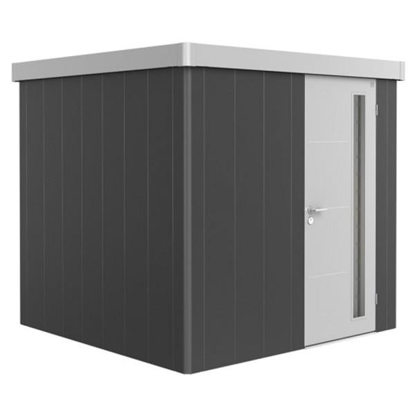 BIOHORT Gerätehaus Neo 2B 236x236 mit Einzeltür dunkelgrau-metallic (Wand) silber-metallic (Dach- un