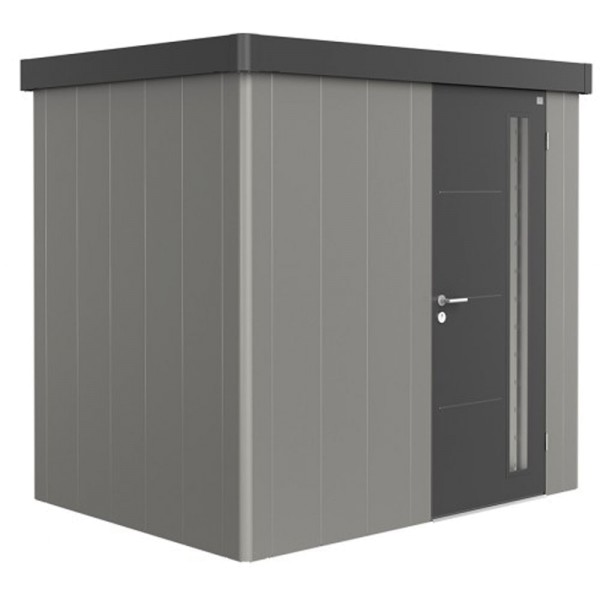BIOHORT Gerätehaus Neo 1B 236x180 mit Einzeltür quarzgrau-metallic (Wand) dunkelgrau-metallic (Dach-