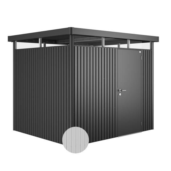 BIOHORT Gerätehaus HighLine H3 275x235 mit Einzeltüre silber-metallic - 9003414830400   by gartenmoebel-fockenberg.de