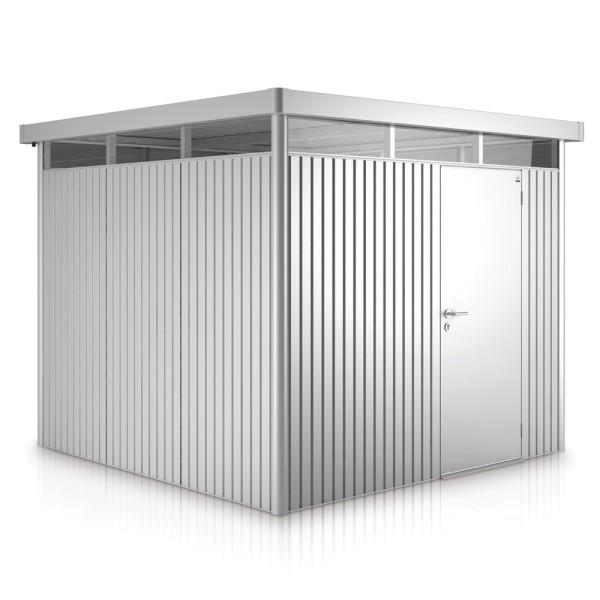 BIOHORT Gerätehaus HighLine H4 275x275 mit Einzeltüre silber-metallic - 9003414830509 | by gartenmoebel-fockenberg.de