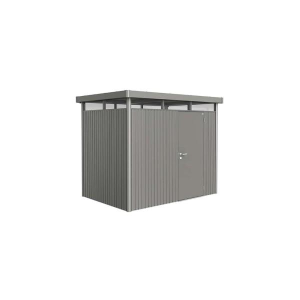 BIOHORT Gerätehaus HighLine H2 275x195 mit Einzeltüre quarzgrau-metallic - 9003414880306 | by gartenmoebel-fockenberg.de