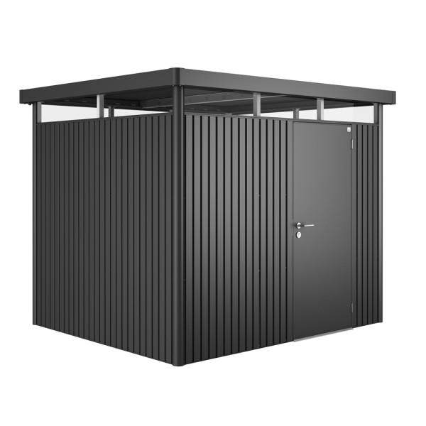 BIOHORT Gerätehaus HighLine H3 275x235 mit Einzeltüre dunkelgrau-metallic - 9003414840409 | by gartenmoebel-fockenberg.de