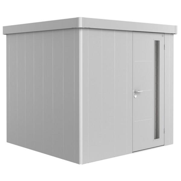 BIOHORT Gerätehaus Neo 1B 236x180 mit Doppeltür silber-metallic