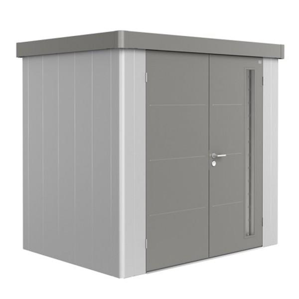 BIOHORT Gerätehaus Neo 1B 236x180 mit Doppeltür silber-metallic (Wand) quarzgrau-metallic (Dach- und