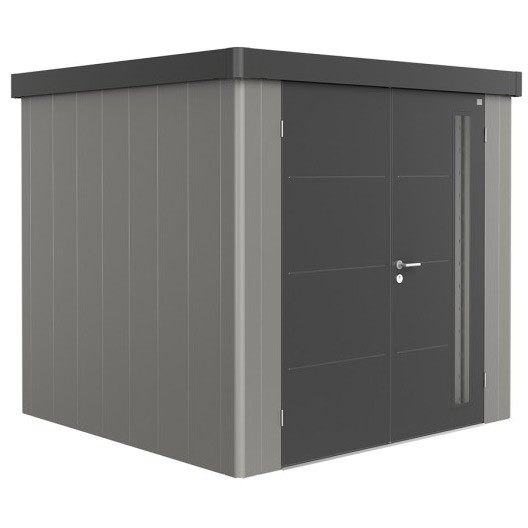 BIOHORT Gerätehaus Neo 2B 236x236 mit Doppeltür quarzgrau-metallic (Wand) dunkelgrau-metallic (Dach-