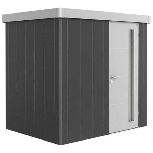 BIOHORT Gerätehaus Neo 1B 236x180 mit Einzeltür dunkelgrau-metallic (Wand) silber-metallic (Dach- un