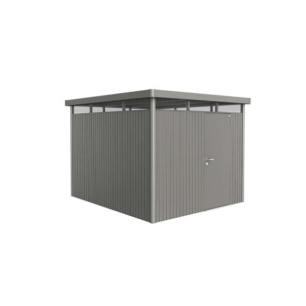 BIOHORT Gerätehaus HighLine H5 275x315 mit Einzeltüre quarzgrau-metallic - 9003414880603 | by gartenmoebel-fockenberg.de
