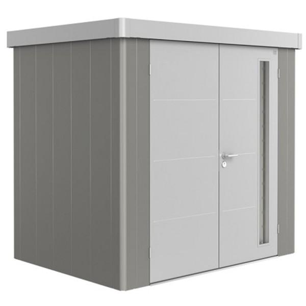 BIOHORT Gerätehaus Neo 1B 236x180 mit Doppeltür (zweifarbig) silber- / quarzgrau-metallic