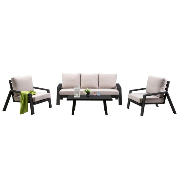 STRANDFLAIR® Lounge-Set Milan Aluminium   by gartenmoebel-fockenberg.de