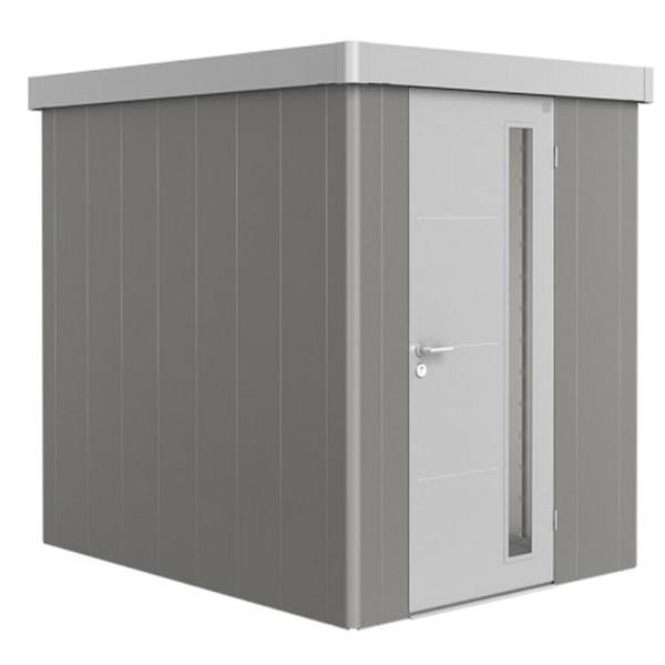 BIOHORT Gerätehaus Neo 2A 180x236 mit Einzeltür quarzgrau-metallic (Wand) silber-metallic (Dach- und