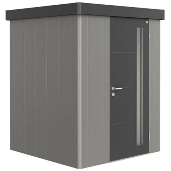 BIOHORT Gerätehaus Neo 1A 180x180 mit Einzeltür quarzgrau-metallic (Wand) dunkelgrau-metallic (Dach-