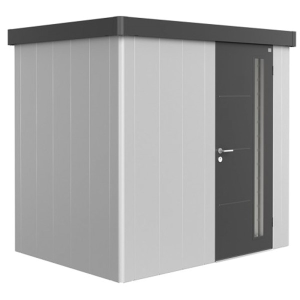 BIOHORT Gerätehaus Neo 1B 236x180 mit Einzeltür silber-metallic (Wand) dunkelgrau-metallic (Dach- un