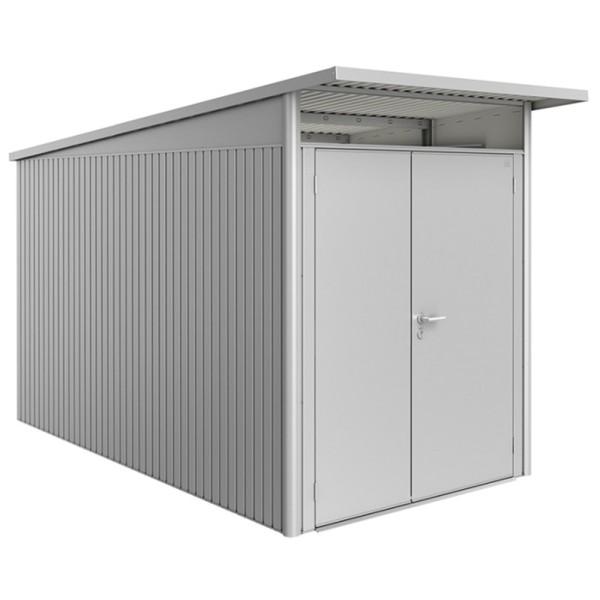 BIOHORT Gerätehaus Avantgarde A4 180x380 mit Doppeltür silber-metallic