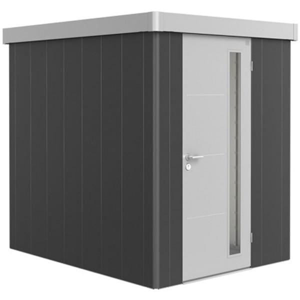 BIOHORT Gerätehaus Neo 2A 180x236 mit Einzeltür dunkelgrau-metallic (Wand) silber-metallic (Dach- un