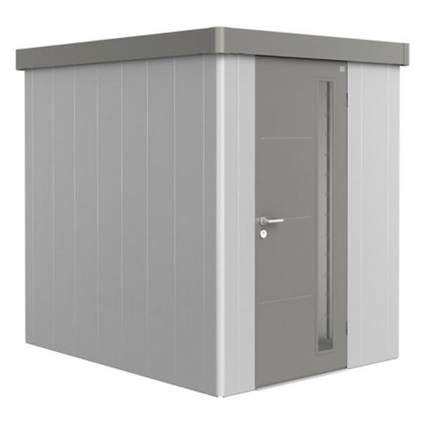 BIOHORT Gerätehaus Neo 2A 180x236 mit Einzeltür silber-metallic (Wand) quarzgrau-metallic (Dach- und