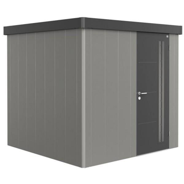 BIOHORT Gerätehaus Neo 2B 236x236 mit Einzeltür quarzgrau-metallic (Wand) dunkelgrau-metallic (Dach-