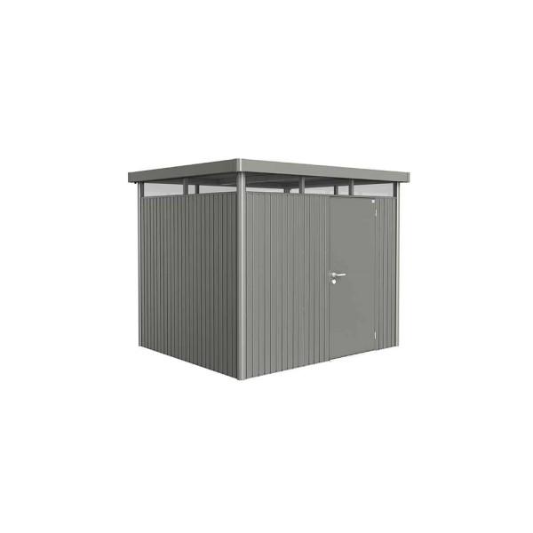 BIOHORT Gerätehaus HighLine H3 275x235 mit Einzeltüre quarzgrau-metallic - 9003414880405 | by gartenmoebel-fockenberg.de