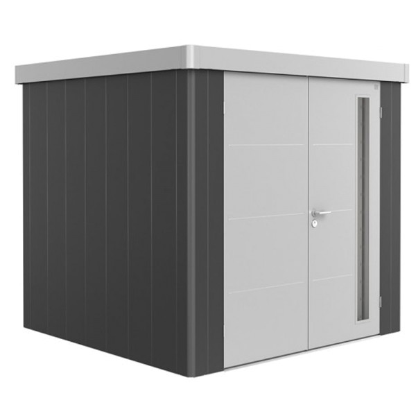 BIOHORT Gerätehaus Neo 2B 236x236 mit Doppeltür (zweifarbig) silber- / quarzgrau-metallic