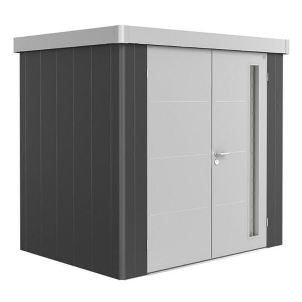 BIOHORT Gerätehaus Neo 1B 236x180 mit Doppeltür dunkelgrau-metallic (Wand) quarzgrau-metallic (Dach-