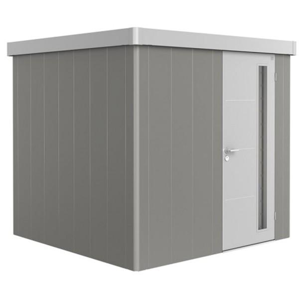 BIOHORT Gerätehaus Neo 2B 236x236 mit Einzeltür quarzgrau-metallic (Wand) silber-metallic (Dach- und