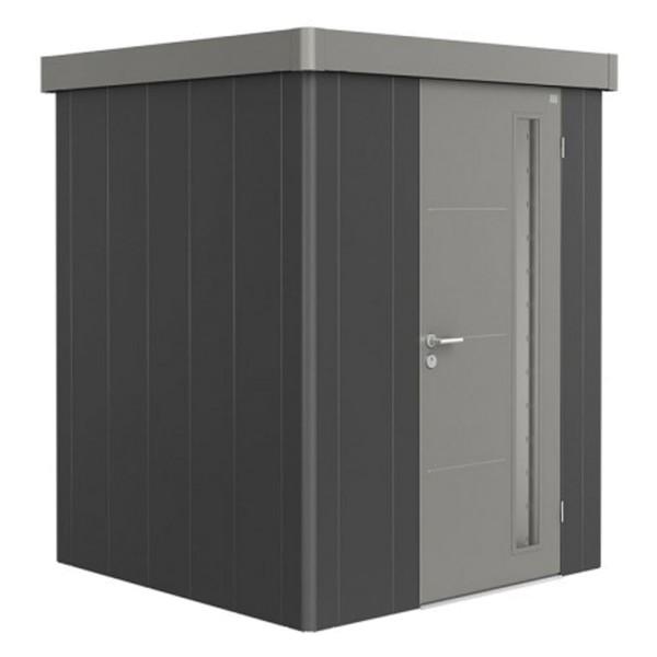BIOHORT Gerätehaus Neo 1A 180x180 mit Einzeltür dunkelgrau-metallic (Wand) quarzgrau-metallic (Dach-