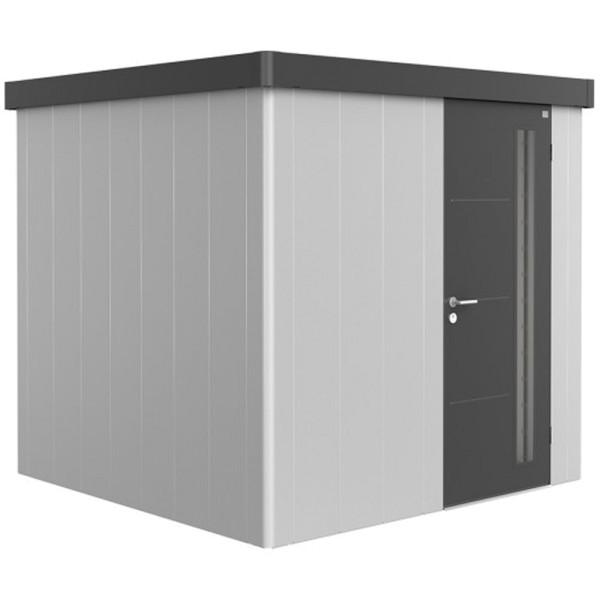 BIOHORT Gerätehaus Neo 2B 236x236 mit Einzeltür silber-metallic (Wand) dunkelgrau-metallic (Dach- un