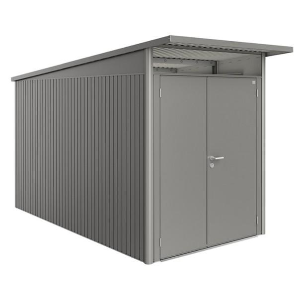 BIOHORT Gerätehaus Avantgarde A4 180x380 mit Doppeltür quarzgrau-metallic