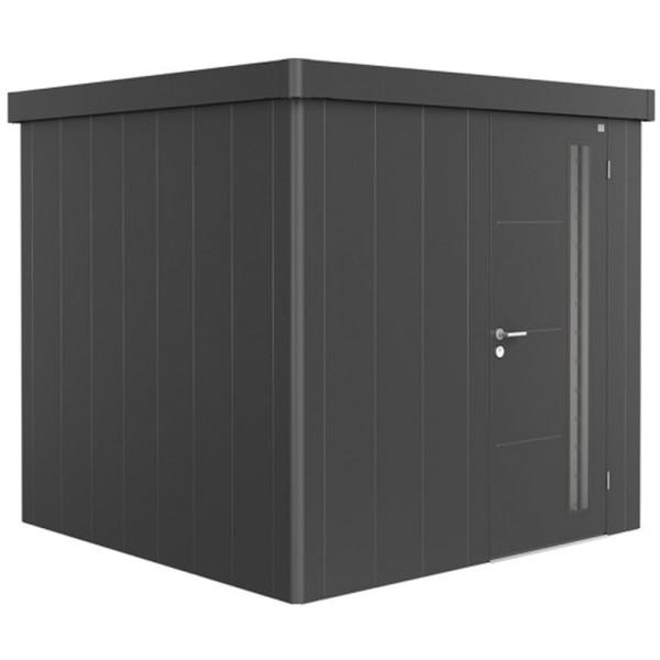 BIOHORT Gerätehaus Neo 2B 236x236 mit Einzeltür dunkelgrau-metallic