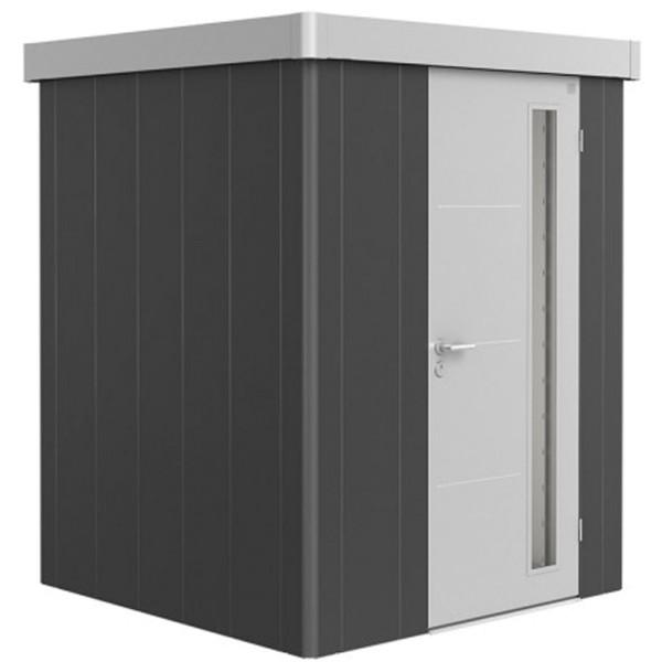 BIOHORT Gerätehaus Neo 1A 180x180 mit Einzeltür dunkelgrau-metallic (Wand) silber-metallic (Dach- un