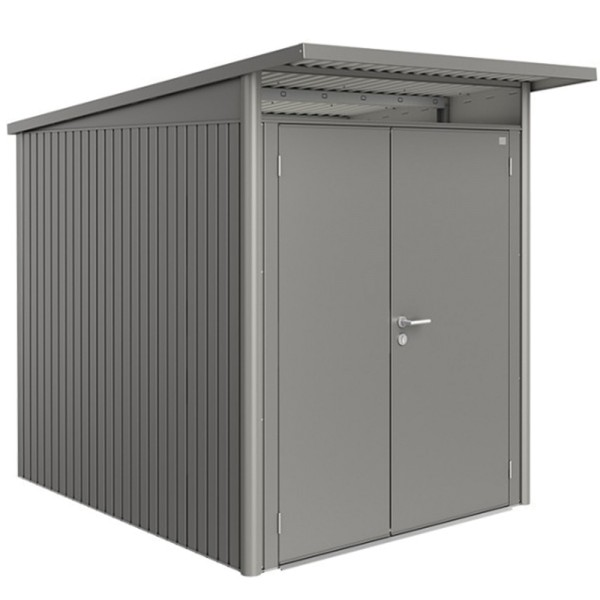 BIOHORT Gerätehaus Avantgarde A2 180x260 mit Doppeltür quarzgrau-metallic