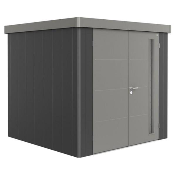BIOHORT Gerätehaus Neo 2B 236x236 mit Doppeltür dunkelgrau-metallic (Wand) quarzgrau-metallic (Dach-
