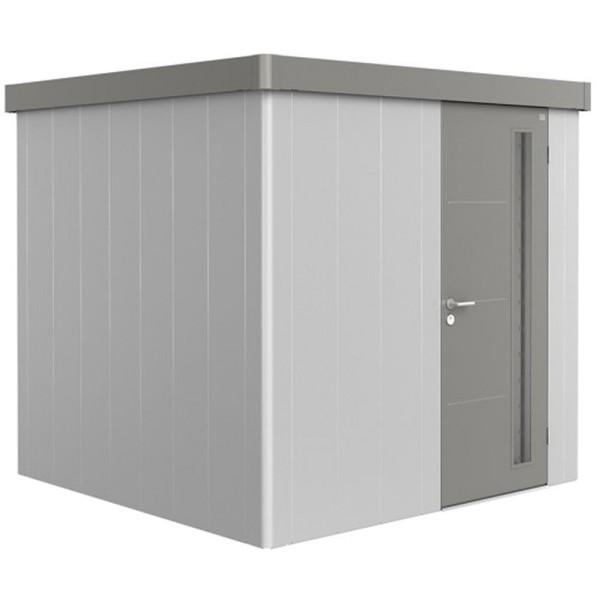 BIOHORT Gerätehaus Neo 2B 236x236 mit Einzeltür silber-metallic (Wand) quarzgrau-metallic (Dach- und