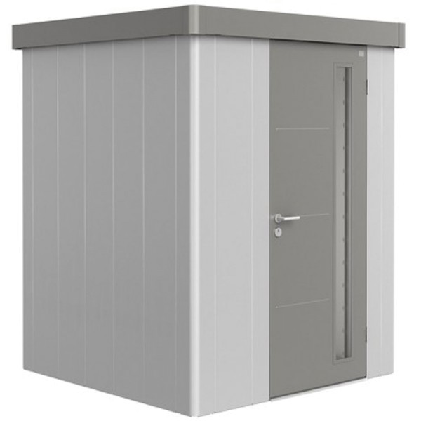 BIOHORT Gerätehaus Neo 1A 180x180 mit Einzeltür silber-metallic (Wand) quarzgrau-metallic (Dach- und