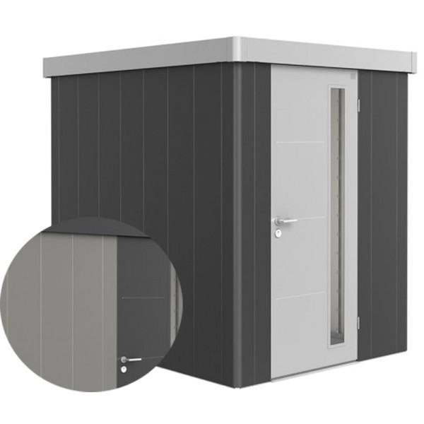 BIOHORT Gerätehaus Neo 2A 180x236 mit Einzeltür quarzgrau-metallic (Wand) dunkelgrau-metallic (Dach-
