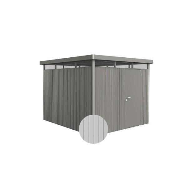 BIOHORT Gerätehaus HighLine H5 275x315 mit Einzeltüre silber-metallic - 9003414830608 | by gartenmoebel-fockenberg.de