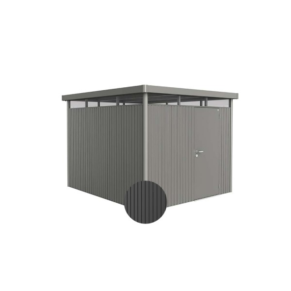 BIOHORT Gerätehaus HighLine H5 275x315 mit Einzeltüre dunkelgrau-metallic - 9003414840607 | by gartenmoebel-fockenberg.de