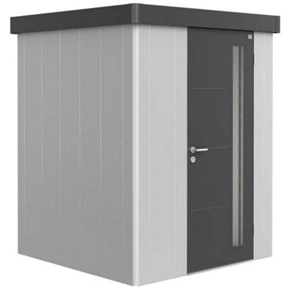 BIOHORT Gerätehaus Neo 1A 180x180 mit Einzeltür silber-metallic (Wand) dunkelgrau-metallic (Dach- un
