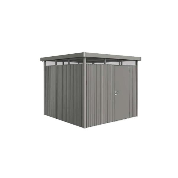 BIOHORT Gerätehaus HighLine H4 275x275 mit Einzeltüre quarzgrau-metallic - 9003414880504 | by gartenmoebel-fockenberg.de