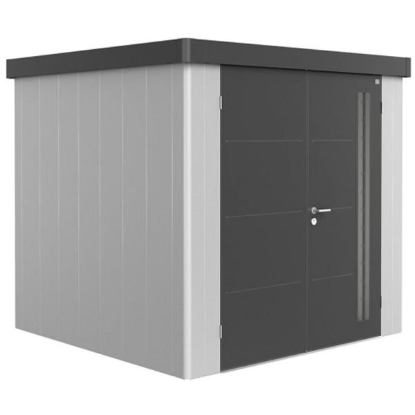 BIOHORT Gerätehaus Neo 2B 236x236 mit Doppeltür silber-metallic (Wand) dunkelgrau-metallic (Dach- un