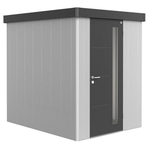 BIOHORT Gerätehaus Neo 2A 180x236 mit Einzeltür silber-metallic (Wand) dunkelgrau-metallic (Dach- un