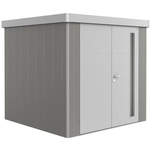 BIOHORT Gerätehaus Neo 2B 236x236 mit Doppeltür quarzgrau-metallic (Wand) silber-metallic (Dach- und
