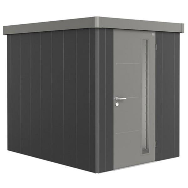 BIOHORT Gerätehaus Neo 2B 236x236 mit Einzeltür dunkelgrau-metallic (Wand) quarzgrau-metallic (Dach-