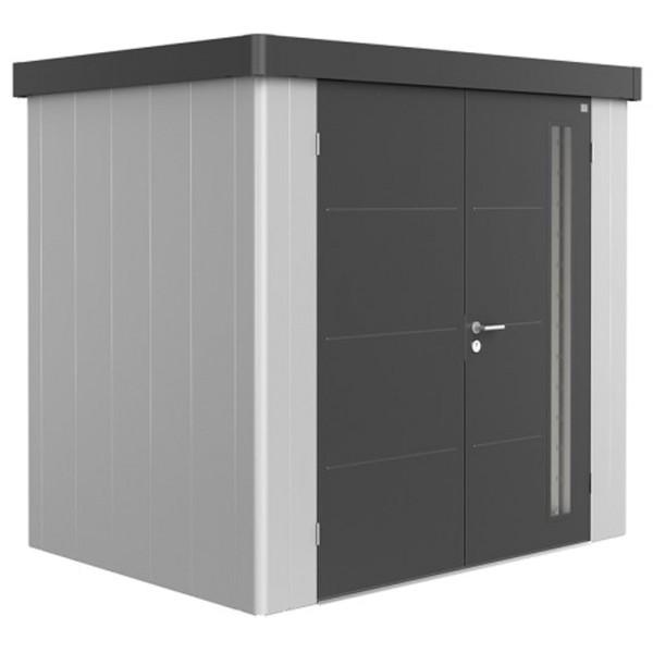 BIOHORT Gerätehaus Neo 1B 236x180 mit Doppeltür silber-metallic (Wand) dunkelgrau-metallic (Dach- un
